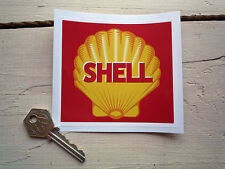 SHELL Retro Style Red Square Decal Car STICKER Petrol Pump 100mm Gas Gasoline