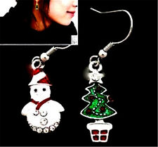 Lovely Christmas tree / snowman earrings with crystal