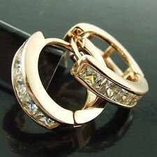 FS152 18CT ROSE G/F GOLD CLASSIC DIAMOND SIMULATED HUGGIE STUD HOOP EARRINGS