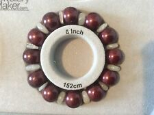 Burgundy Shell Pearl & Moonstone Stretchy Bracelet. 6 - 6.5 inches