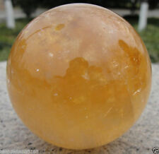 100MM Natural Citrine Calcite Quartz Crystal Sphere Ball Healing Gemstone+Stand…
