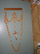 """27 3/4""""  Long x 12"""" Wide Vintage Wall Hanging Crucifix Peach Pits Chains Unique"""