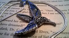 "Beautiful Hummingbird Antiqued Gunmetal Silver & 30"" Sterling Silver Snake Chain"