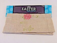 54 Inch Spring Easter Embroider Flowers Polyester-Linen Table Runner Decoration