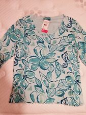 FRESH PRODUCE Tahitian Flower Embrace Me 3/4 Sleeve Cotton Top Xtra Small NEW