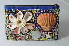 Fabulous Handmade Philippine Seashell Coconut Beaded Collage Coin Purse Blue