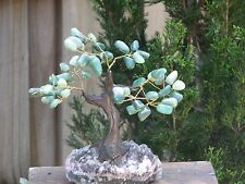 Large Green Aventurine Crystal Bonsai Gemstone Tree - Raw Amethyst Crystal Base