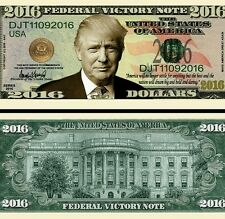 Trump  Victory Note Novelty Dollar Bill plus Protector & Free Shipping