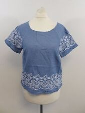 Jack Wills Colman Broderie Top Blue Size UK 8 RRP £44.50 Box4658 C