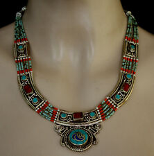 Ethnic Handmade Sterling Silver Necklace Tibetan Turquoise Vintage Tribal CK11