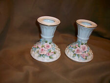 2 *Chipped* Vintage Lefton China White Hobnail Candle Holders Pink Roses