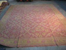 Antique European Cotton Dhurry Dhurrie HandMade Kilim Rug 8'4 x 10'3 Hand Woven