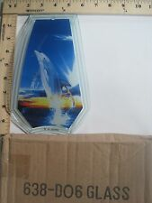 FREE US SHIP OK Touch Lamp Replacement Glass Panel Dolphin Jumping 638-DO6