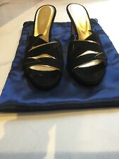 Sergio Rossi Size 38.5 / 6 to 6.5 UK Black / Gold Seude Stiletto