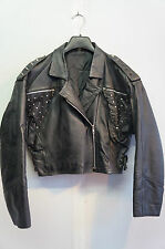 VINTAGE FUTURE PUNK SPIKE STUDDED LEATHER  MOTORCYCLE CROPPED  JACKET SIZE  14