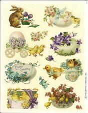 Hallmark Glitter Victorian Easter Rabbit Chicks Animals Flowers Stickers Sheet