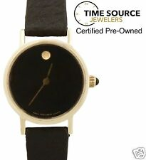 Movado Museum Classic 14K Yellow Gold Black Dial 24mm Zenith Quartz Watch