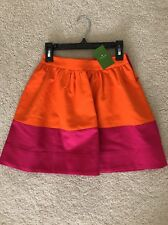 KATE SPADE Color-blocked Orange Pink Pleated Skirt Size 7 NWT