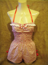 Strawberry daisy halterneck playsuit!1950's,rockabilly,pin-up,vintage,jumpsuit!