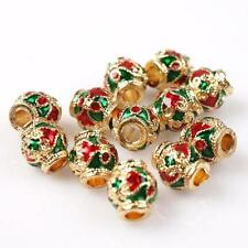 15pcs Hot Sale Red&Green Enamel Alloy Spacers Beads Charms Fit Make Bracelets C