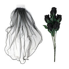 Artificial Handheld Black Gothic Rose Flowers & Black Veil - Day of the Dead