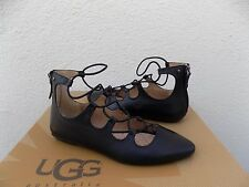 UGG LORIANNA BLACK LEATHER PARISIAN ELASTIC WRAP FLATS SHOES, US 8 / EUR 39 ~NIB