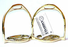 BAROCK STIRRUPS HORSE RIDING IRONS BRASS GOLDEN GERMAN SILVER FROM AMIDALE