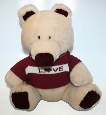 "Big Dakin Teddy Bear Plush Stuffed Animal Toy With Love Sweater 1984 14"" Tan"