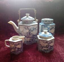 Dolphin China BLUE DYNASTY 7 Piece Tea Set Teapot, Canister, Creamer & Sugar