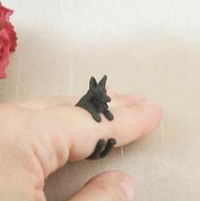 Matt Black Plated Cute German Shepherd Dog Ring Size N - Adjustable