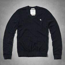 NEW Abercrombie & Fitch Men V Neck Cotton Cashmere Sweater Pullover Navy M