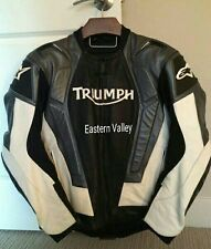New Mens Triumph Black/White Motorcycle Racing 100% Cowhide Leather Jacket