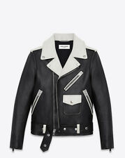 SAINT LAURENT CLASSIC MOTORCYCLE JACKET IN BLACK AND WHITE LEATHER