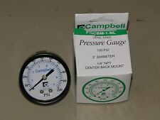 """NO LEAD BRASS Pressure Gauge BACK MOUNT 1/4"""" 100psi 2"""" Water Well Tank CAMPBELL"""