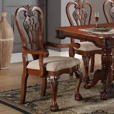 Set of 2 Formal Dining Arm Side Chair Carving Legs Cherry Wood Upholstered Seat