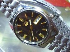 Seiko 5 Automatic 34 mm Vintage Black SS Bracelet Original 7S26