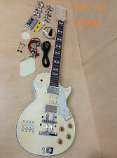 No-Soldering,LP Style,Flame Maple Veneer Electric Guitar DIY Kits+Tuner & Picks