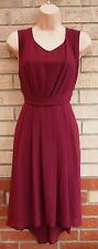 NEW LOOK BURGUNDY SKATER FLIPPY A LINE VTG RARE TEA FLARE FORMAL DRESS 12 M