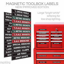 Magnetic Toolbox Labels - Adjustable ID Organize - wrenches, power tool storage