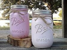 4 Handcrafted Painted Distressed Mason Jars Rustic Wedding Decor PINK