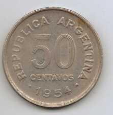 Argentina - 50 centavos de acero revestido de níquel 1954 – 5 G – Ø 23 mm