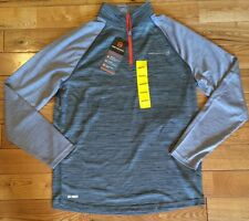 NWT Mens FREE COUNTRY Deep Charcoal 1/2 Zip Microtech Sweater Jacket Sz LARGE L