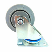 "Swivel Plate Caster with 3"" x 1-1/4"" Non Marking Soft Gray Rubber TPR Wheel"