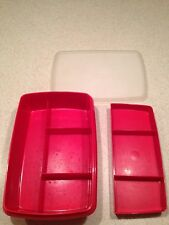 Vintage Tupperware Tuppercraft Craft Organizer Storage Box with Tray Red #767-3