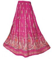 Ladies Indian Boho Hippie Long Sequin Skirt Rayon in PINK colour