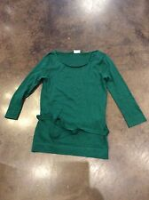 Alyki grass green 1 ply cashmere silk belted sweater M 2-6
