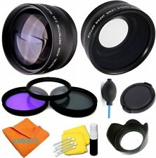 HD LENS KIT WIDE ANGLE MACRO TELEPHOTO ZOOM + FILTERS FOR CANON EOS REBEL T