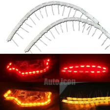 2x Dual Color Red LED Strip Lights w/ Amber Sequential Signal For Headlight Mods