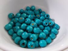 50g 12mm x 90pcs WOODEN Round Spacer Wood Beads -  TURQUOISE BLUE