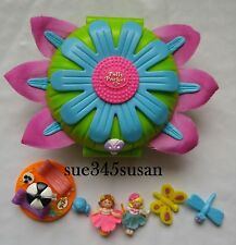 Polly Pocket 1997 Petal Village Totally Flowers Dolls + Daisy Dressmaker Compact